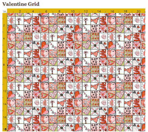 Valentine Grid repeat at Spoonflower. Collaborative class project.