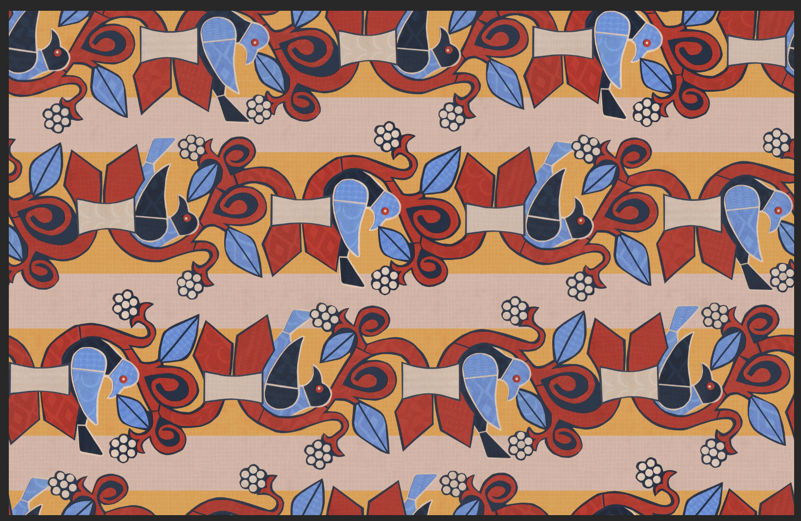 image of a repeating pattern of birds